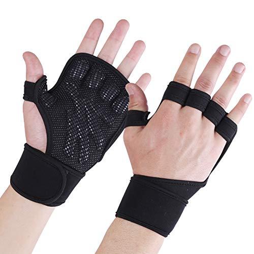Fitness Handschuhe rutschfeste Trainingshandschuhe Sport Gewichtheben Handschuhe mit Handgelenkstütze und Palm Schutz, zum Klimmzug Cross Training und Kraftsport für Herren und Damen - Schwarz/M