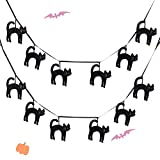 EDLDECCO Halloween Garland 6 Feet Set of 2 Banner Ornament Felt Black Cats Home Party Hanging Decoration Supplies