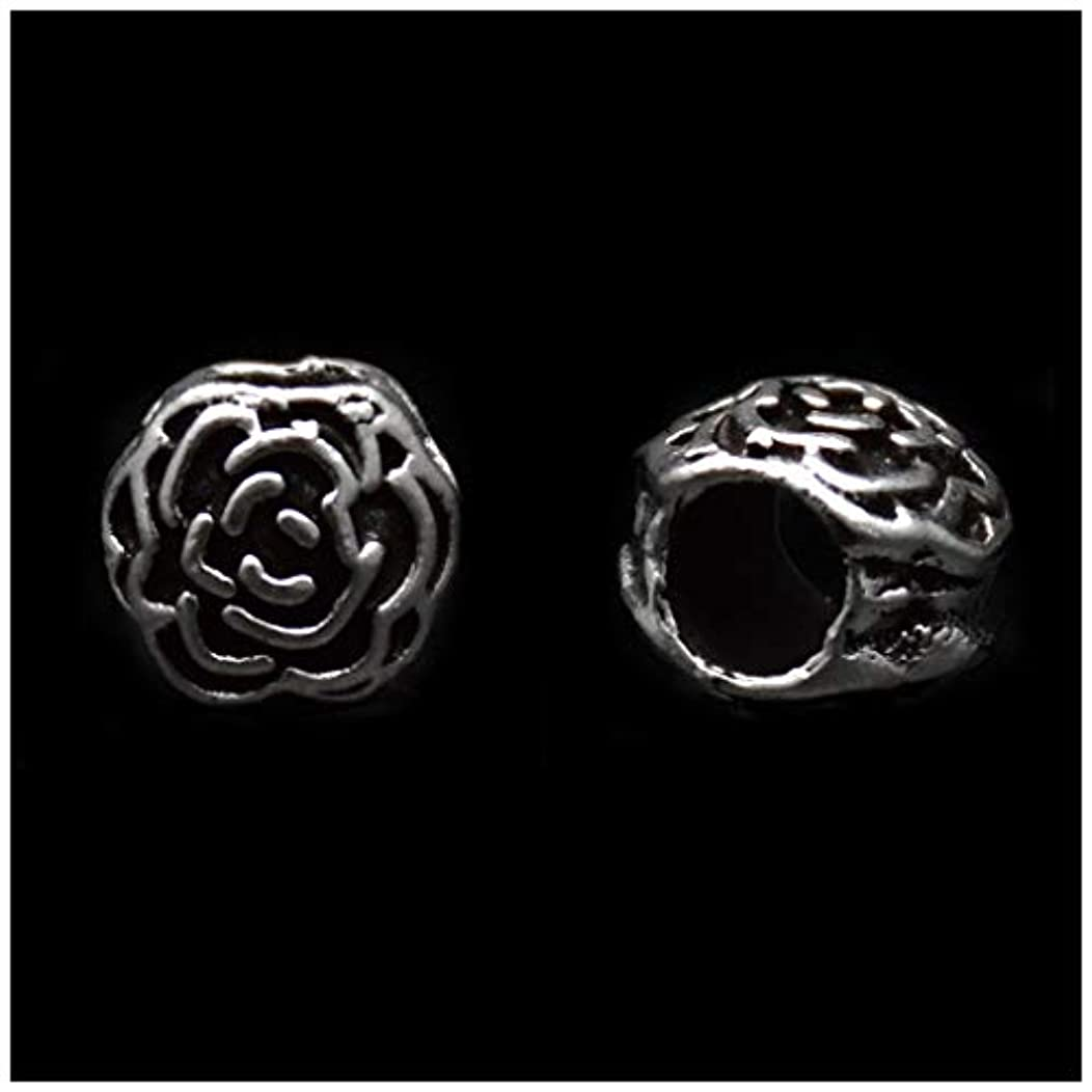 Pack of 50 Strong Rose Antique Silver Plated Spacer Loose Beads Charms for Pandora Bracelet DIY Jewelry Making