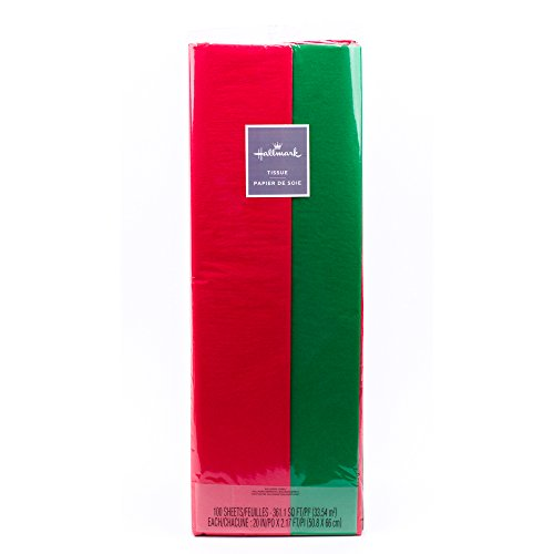 Hallmark Tissue Paper, 100 Sheets (Red and Green) for Christmas Gifts, Holiday Crafts and More