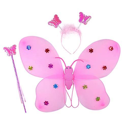 Vxhohdoxs 3 piezas de disfraz de cosplay para niñas con alas de hadas, varita mágica, diadema para fiestas de escenario
