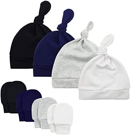 Baby Boy Hat and Mitten Set Baby Beanie for Boys Knot Newborn Hat Infant Caps Baby Accessories product image
