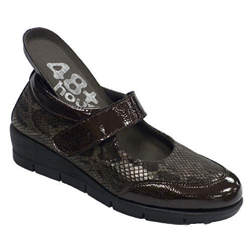 Zapatos Mujer Merceditas Piel y Licra 48 Hours en marrón