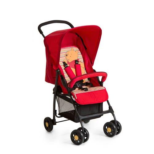 Hauck Sport Silla de paseo ligera y practica para bebes de 0 meses hasta 15 kg, sistema de arnés de 5 puntos, respaldo reclinable, plegable, Rojo (Pooh Spring Birghts Red)