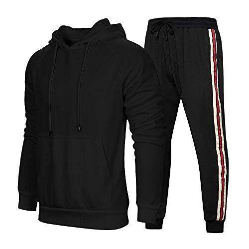 MQJ Sudadera Traje de otoño e invierno con capucha suéter casual suelto, pantalones de color sólido, pantalones de dos piezas, negro, M