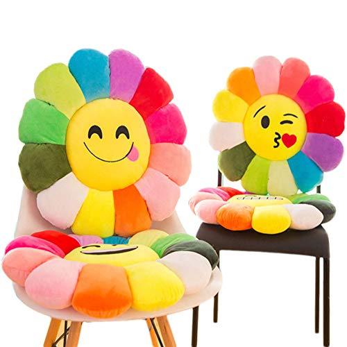 sunshinelh Cojín de asiento de felpa suave de alta calidad, con diseño de emoticonos de algodón, para decoración del hogar, sofá o suelo, 60 x 60 cm