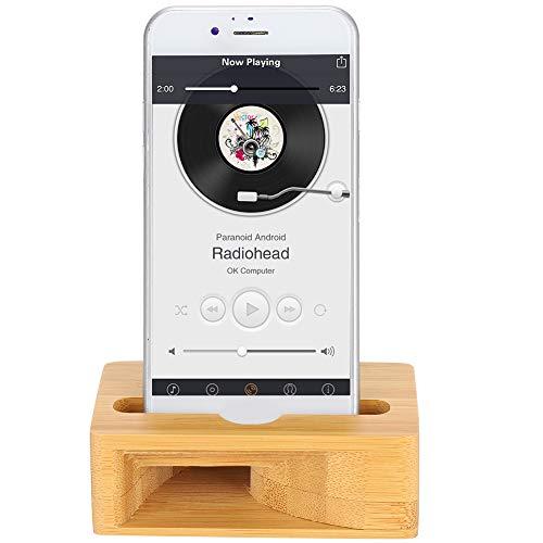 Soporte para teléfono celular, soporte para amplificador de altavoz de sonido de teléfono de madera Soporte para base de escritorio para teléfono inteligente Compatible con iOS, teléfonos inteligentes