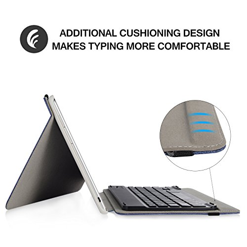 Infiland Huawei MediaPad M3 Lite 10 Tastatur Hülle, Ultradünn leicht Ständer Schutzhülle mit magnetisch abnehmbar Tastatur für Huawei MediaPad M3 Lite 10(QWERTZ Tastatur,Dunkleblau) - 3