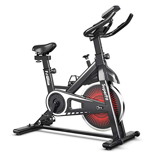 Goplus Indoor Cycling Bike, Silent Belt Drive Exercise Bike Stationary Bicycle with Steel Flywheel, Phone Holder, Adjustable Seat and Handlebar, LCD Monitor, Heart Rate Monitor (Black + White) belt bike Exercise flywheel Goplus indoor quiet