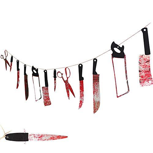 Sterke Halloween Decoratie 12 Bloedige Garland Hangende Banner Nep Martelen Hangende Messen