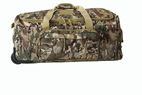 Military Tactical Wheeled Deployment Trolley Duffel Bag Heavy-Duty Camping Hiking Running Trekking (08360A Multicamo)
