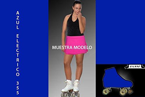 SILVYE Falda Lisa para Patinaje ARTÍSTICO con Funda Cubre Patin (Azul ELECTRICO,...