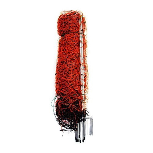 Farmily Portable Livestock Electric Net Fence for Sheep and Goat with Step-in Fence Post, 35'x164', Orange