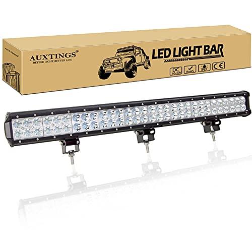 AUXTINGS 28 inch 180W LED Barre Projecteur Phare de Travail LED Spot Flood Light bar pour Feux Diurne lumière off road lampe Feu de recul Camion Remorque 4x4 Tracteur 12V 24V