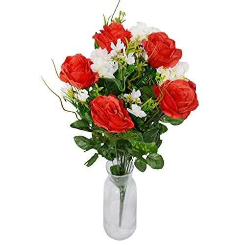 Rabbihom Large 60 × 40cm Pink Lily Flores Artificiales Ramo de Flores Falsas Planta Artificial de plástico Realista...
