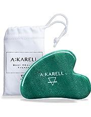 A: Karell Gua Sha van jade, massageapparaat voor gezicht, huidverzorging, echte Guasha natuursteen, echte rozenkwarts, jade roller, jade roller, gezichts- en lichaamsmassageapparaat, metaal