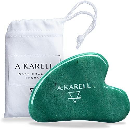 A:KARELL Gua Sha en Jade, Outil de Massage visage,...