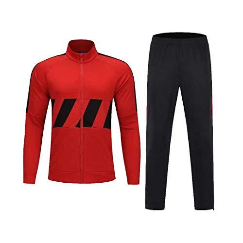 VLIG Roter Fußball-Trainingsanzug Mit Langen Ärmeln Für Vereinsmannschaften, Wettkampfanzug, Sportbekleidung, Kapuzenjacke XL