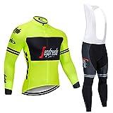 QWA Hombres Jersey + Pantalones Largos para Invierno, Maillot Entretiempo Invierno para Deportes Aire Libre Ciclo Bicicleta, Pro Equipo Bicicleta Jersey (Color : Yellow 2, Size : B(S))