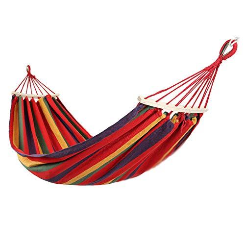Silla Colgante de Hamaca, Hamaca para Acampar al Aire Libre Dormitorio Dormitorio Silla Colgante de Lona para Adultos Columpio-Rojo (190 * 80)
