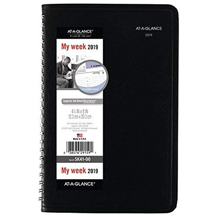 ふりをする調整可能骨の折れるAT-A-GLANCE DayMinder Weekly Appointment Book/Planner January 2019 - December 2019 4-7/8 x 8 Black (SK4100) [並行輸入品]
