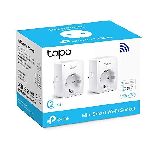 TP-Link Tapo P100 - Mini Enchufe Inteligente Wi-Fi, ideal para programar el encendido/apagado y ahorrar energía, contrólalo desde cualquier lugar, no necesita HUB, compatible con Alexa y Google Home