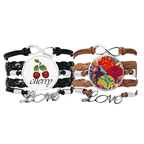 Bestchong Flowers Leaves Chinese Knot Pattern Japanese Style Bracelet Hand Strap Leather Rope Cherry Love Wristband Double Set