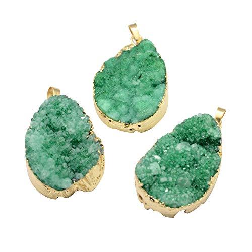NBEADS Colgantes de Piedra, 5 Unids Trullo Encantos Colgantes de Ágata Natural con Hallazgos de Oro para la Joyería del Collar Pulsera de Regalos