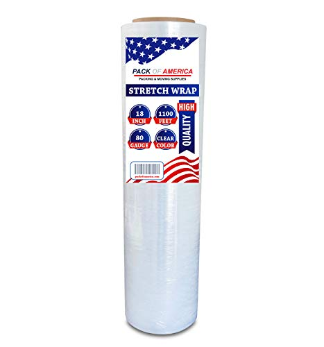 Pack of America Stretch Film Clear, 18 Inch x 1100 Feet x 80 Gauge (20 Micron), 1 Roll, Industrial Heavy Duty Shrink Wrap, Moving Packaging, Packing Supplies, Ideal for Furniture and Pallet Wrapping