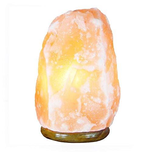 Lámpara de Sal del Himalaya | VARIOS TAMAÑOS DISPONIBLES | Base de Madera, Cable y Bombilla | Natural 100% | Hecha a Mano (2 - 3 KG)
