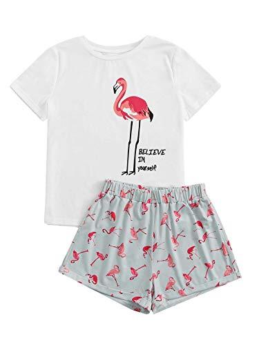 DIDK Conjunto de pijama de dos piezas para mujer, diseño de dibujos animados Flamingo blanco. XS