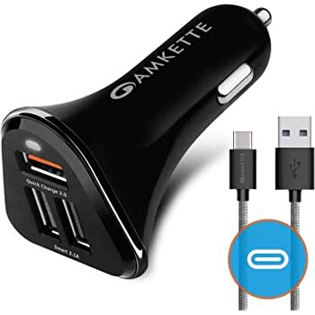 Amkette Power Pro 3 Port USB Car Charger with Quick Charge 3.0 + Braided Type C Cable (Black)
