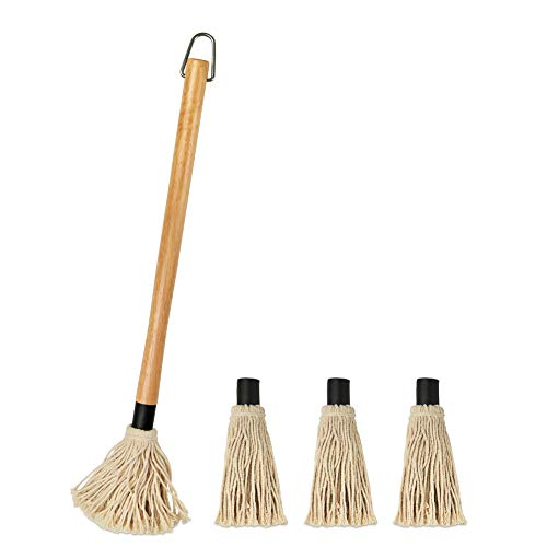 YFWOOD 18 Inch Grill Basting Mop Wooden Long Handle with 3 Extra Replacement Heads for Grilling & Smoking