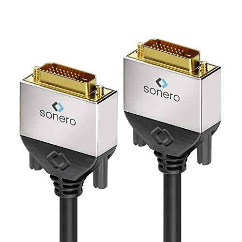 [Nuevo] sonero® Premium 2m Dual Link DVI Cable, DVI-D 24+1, resolución hasta 2560x1600, Full HD 1080p, negro