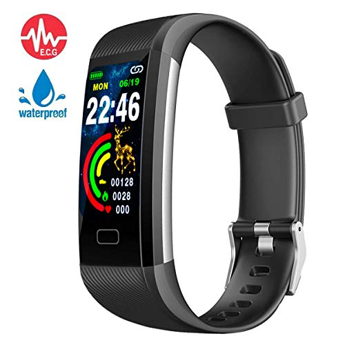 Fitness tracker, IP67 waterproof watch with exercise tracking function,blood pressure, heart rate, sleep monitoring,with pedometer, location tracking and message notification,best gift for men & women