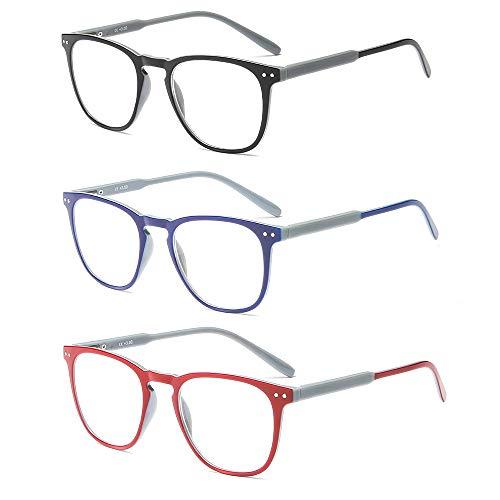 Suertree Lesebrille 3 Pack Computer Brille Herren Damen Lesehilfe für Frauen Männer Fashion Leser 2.0X JH221