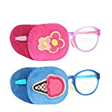 Astropic 2Pcs Eye Patches for Kids Glasses to Cover Either Eye (Pink Flower & Blue Icecream)