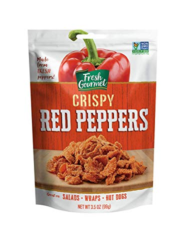 Fresh Gourmet Crispy Red Peppers | 3.5 Ounce, Pack of 6 | Low Carb | Crunchy Snack and Salad Topper
