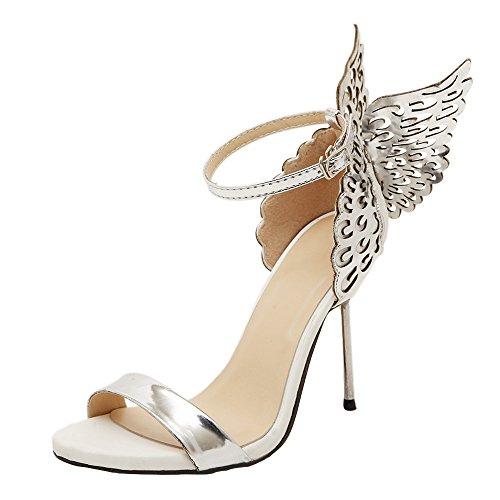 BaZhaHei Damen Sandalen Mode Open Toe Plateau Stiletto Frauen Valentine Schuhe Bronzing Pailletten Big Bowknot High Heels Pumps Schluepfen Party Hochzeit Schuhe