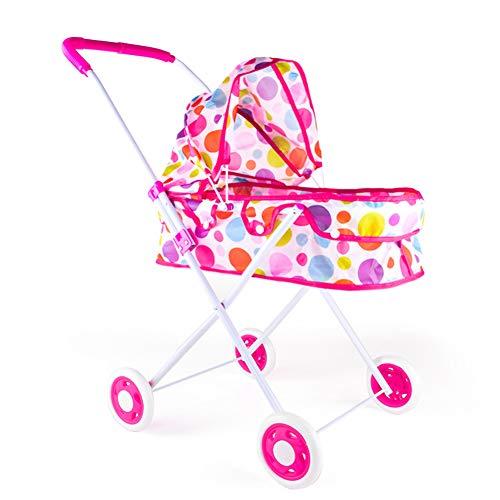 FXQIN Cochecitos y sillas de Paseo para muñecas Carrito De Muñecas con Rueda giratoria, manija y Capota, Coche De Paseo para Muñecas Plegable para bebés Mayores de 3 años