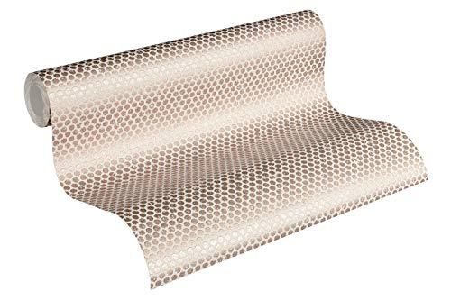 Designdschungel by Laura N. Vliestapete mit Punkten im Metallic-Look matt glänzend 10,05 m x 0,53 m metallic weiß Made in Germany 365762 36576-2