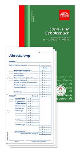Omega Lohn-Gehaltebuch 970B ok, selbstdurchschreibend, 10.5 x 19 cm, 3 x 50 Blatt, Weiß