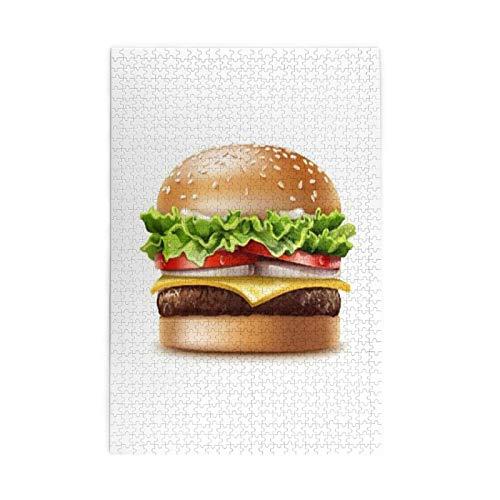 1000 piezas de madera educativa tema de comida americana hamburguesa de queso con lechuga, tomate, cebolla, queso, carne de res y salsa, rompecabezas para la boda de todas las edades