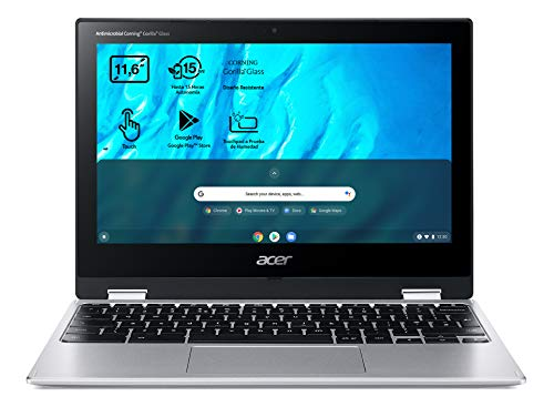 "Acer Chromebook Spin 311 CP311-3H - Ordenador Portátil 2 en 1 Convertible y Táctil 11.6"" HD IPS (MTK MT8183, 4GB RAM, 32GB eMMc, Mali-G72 MP3 Graphics, Chrome OS), PC Portátil Plata - QWERTY"