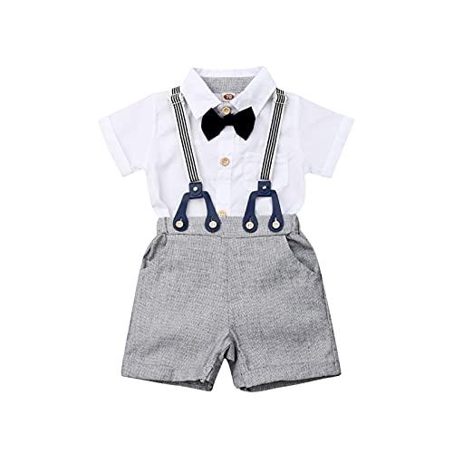 Conjunto de Mameluco Informal de 2 Piezas para bebé niño Camisa Blanca con Pajarita de Manga Corta + Peto Corto Ajustable para bebé niño 0-24 Meses Fiesta de Caballero de Verano (Blanco, 12-18meses)