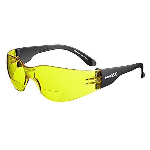 voltX 'GRAFTER' (AMARILLO dioptría +1.5) Lentes de lectura de seguridad industrial bifocales, Certificado CE EN166F/Gafas de Ciclismo – Safety Reading Glasses + Lente UV400 con recubrimiento antivaho