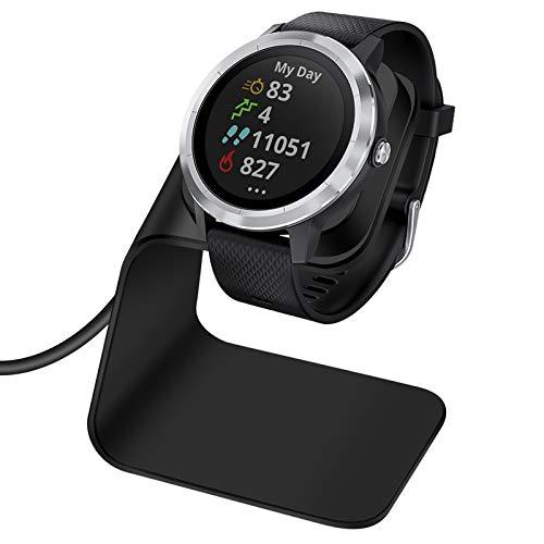 EZCO Charger Dock Compatible with Garmin Vivoactive 3 4 4S/ Vivoactive 3 Music/Venu Sq, Premium Aluminm Charging Cable Stand Base Station USB Date Syn for Fenix 5 5X 6 6X Venu Smartwatch, Black