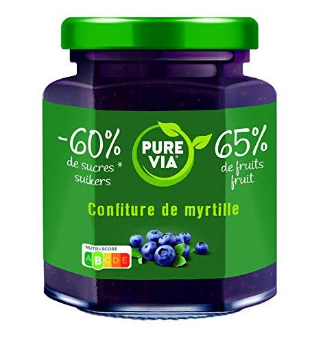 PURE VIA - Confiture de Myrtilles 300g - Moins de Sucre, Plus de Goût - Origine Naturelle - 300g