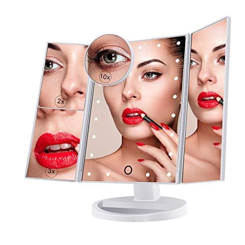Miroir de Maquillage, Nestling Miroir Grossissant Triptyque avec 21pcs LED, Miroir Lumineux 10X/3X/2X avec Ecran Tactile, Alimentation Double, Rotation Réglable à 180 °