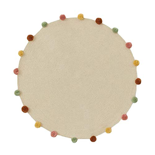 Manyao - Alfombra de bebé lavable, de algodón con pompón creativo, alfombra redonda para niños, alfombra de suelo, alfombra de juegos plegable